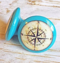 "4 Handmade Nautical Knobs, 1.5"" Island Blue Drawer Pulls, Antique Style ... - $23.76"