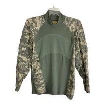 Massif Army Combat Shirt Size Large Long Sleeve Green Camo Zip Pockets Combat - $24.08