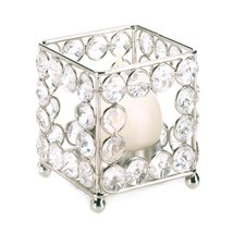 Clear Crystal Candle Holder, Decorative Art Candle Holders With Crystals... - $20.99