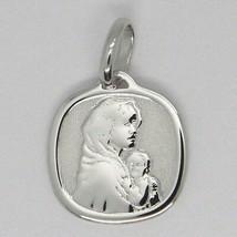 PENDENTIF MÉDAILLE OR BLANC 18K, Vierge Marie et Jésus, carré image 1