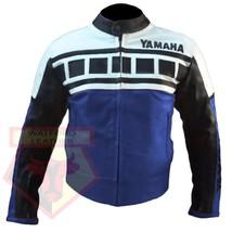YAMAHA 6728 BLUE MOTORBIKE MOTORCYCLE ARMOURED COWHIDE LEATHER JACKET - $194.99