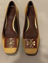 Tory Burch Flats Leather Tan Raffia Gold Logo on Vamp 9 1/2 - $137.20