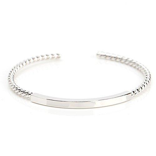 UE- Stylish Silver Tone Designer Twisted Bangle Bracelet With Trendy Bar Design