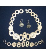 UNIQUE HANDMADE BY G.R.A.S SOLID 925 STERLING SILVER NECKLACE EARRINGS B... - $499.00