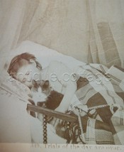 1876 antique stereoview GIRL CHILD SLEEPING w CAT littleton nh victorian... - $42.50