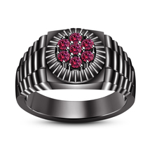 Round Cut Pink Sapphire Black Gold FN. 925 Silver Men's Band Ring Free Shipping - $79.78