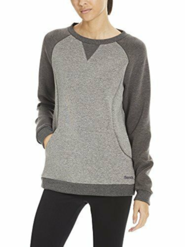 Medium Women's BENCH Fleece Crew Sweatshirt Long Sleeve Black Beauty Marl NEW