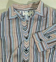 Women's Button Top Red White Blue Stripes Size 22 Blouse Tommy Hilfiger Shirt - $12.86