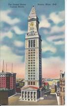 Boston Massachusetts MA United States Custom House Postcard Linen Colourpicture - $3.34