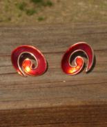 Vintage Red Enameled Swirl Post Earrings, Pierced Earrings, Red Swirl - $8.00