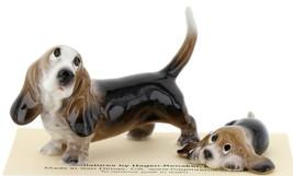 Hagen Renaker Dog Basset Hound Papa and Pup Lying Ceramic Figurine Set