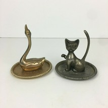 2 Vtg Gilt Silver Plated Siamese Cat Swan Ring Holder Dish Jewelry Decor... - $18.69