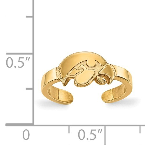 Sterling Silver Gold Plated University of Iowa Toe Ring