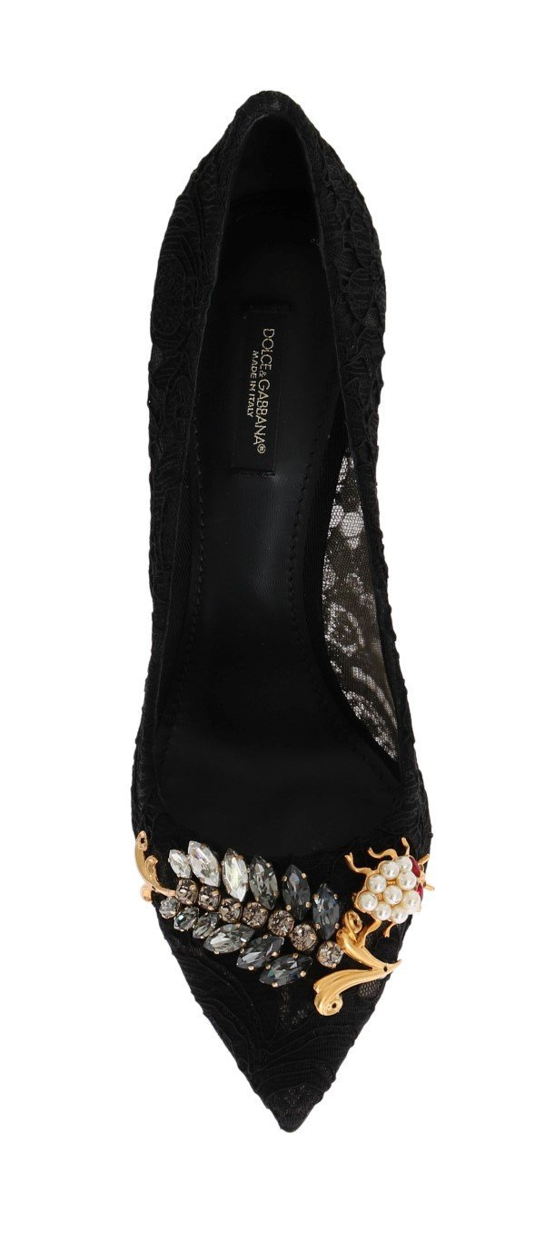 Black Taormina Lace Crystal Pumps