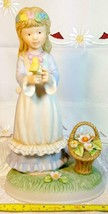 Vintage Napcoware Country Cousins Friendship Song Figurine Girl w/ Flower Basket image 1