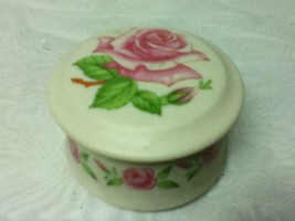 Vintage, Lefton Rose Porcelain Round Trinket Box 2.5in x 1.5in (sfta)  This is a - $18.95