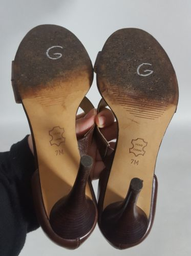 Michael Michael Kors heels open toe brown leather women's 7