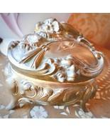 """LARGER ANTIQUE JEWELRY BOX CASKET CAST METAL VICTORIAN ART NOUVEAU  3.5""""... - $109.99"""