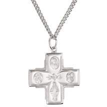 Sterling Silver Four Way Medal Four Way Cross Pendant Necklace - $46.75