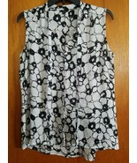 Womens Milano Size M Sleeveless Crinkled Easy Care Polyester Black White... - $11.88