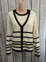 LG Women's Large St. John Cream Knit Blazer & Tank Set Button Jacket & B... - $74.47