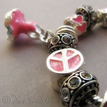 Pretty In Pink European Charm Bracelet With Pink Rhinestone And Heart Beads - $42.00