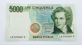 1985 Italia 5000 Liras Billete Au Estado Pick # 111a - $29.76