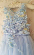 Full Flowers Embroidery Short Flower Girl Dress Blue Wedding Birthday Dress NWT