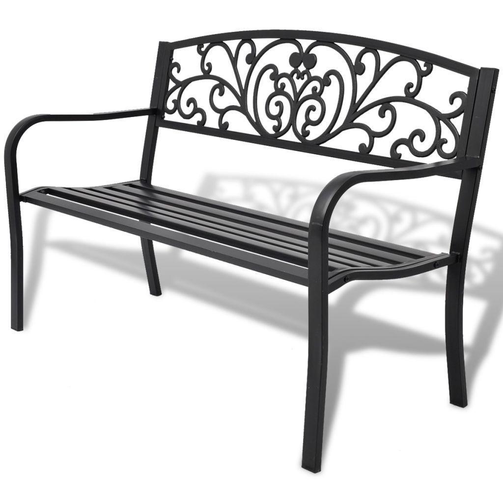 "50"" Outdoor Patio Park Garden Bench Porch Chair Steel Frame Cast Iron Backrest"