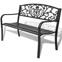"""50"""" Outdoor Patio Park Garden Bench Porch Chair Steel Frame Cast Iron Ba... - $129.99"""