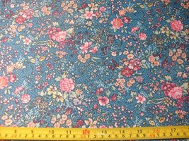 1/2 Yd Concord Quilter's Print Quilt Fabric Blooming Flowers Pink Burgun... - $5.47