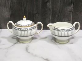 Wedgwood Colonnade Black Covered Sugar Bowl and Creamer - $87.12