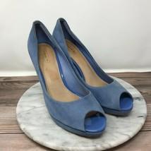 Coach Selma Light Blue Suede Leather Peep Toe Heels Pumps Womens Size 9.5 - $39.95