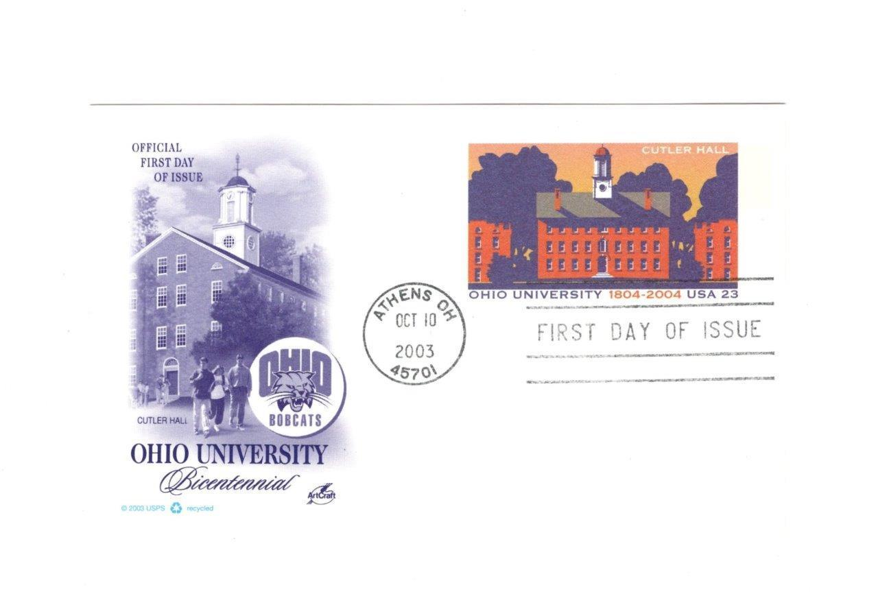PICTURE POSTCARD- OHIO UNIVERSITY BICENTENNIAL- FIRST DAY ISSUE BK9
