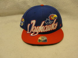 University of Kansas Jayhawks NCAA blue red hat w large logo snapback '47 brand - $9.45