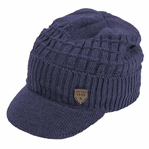 Original One Men's Winter Visor Billed Beanie Hat with Brim Fleece Lined Knit Ba
