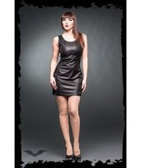 Women's Vegan Leather Goth Mini Dress Fetish Fashion Alternative Rock Style - $79.07