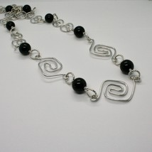Necklace the Aluminium Long 88 Inch with Onyx Black Round image 2