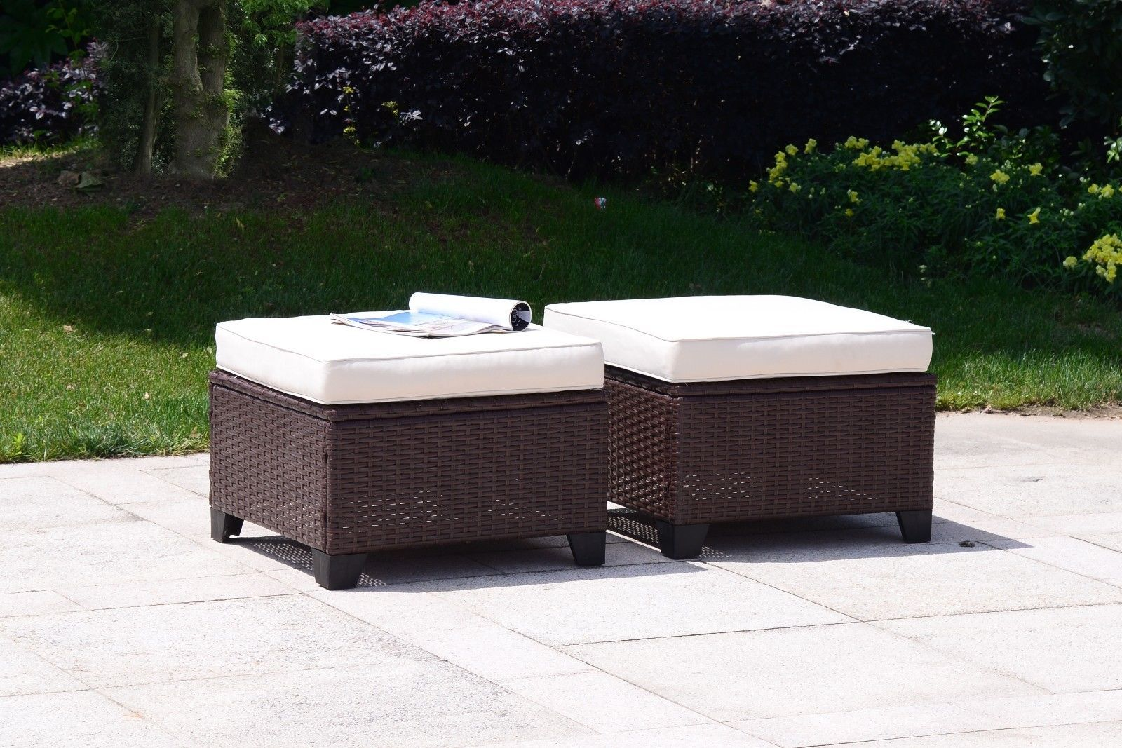 5 PC Wicker Rattan Furniture Set Sofa Cushioned Patio Lawn Loveseat Sectional