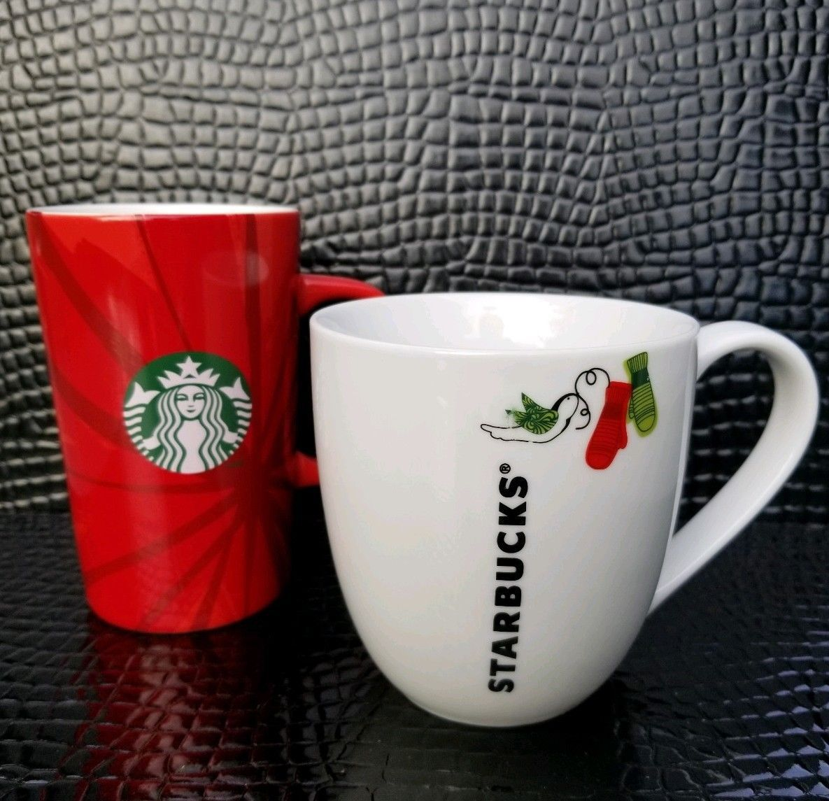 Primary image for Starbucks Christmas Coffee Mugs 2014 Christmas Blend 2011 Bird Mittens Lot of 2