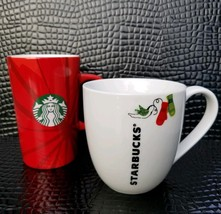 Starbucks Christmas Coffee Mugs 2014 Christmas Blend 2011 Bird Mittens Lot of 2  - $15.95