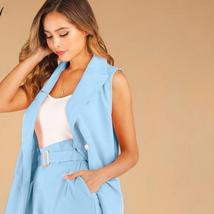Solid Two 2 Piece Set Women Double Breasted Sleeveless Blazer Coat and Shorts Su image 2