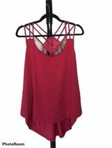Rose Gal Women's 1XL Red Spaghetti Strap Lace Back Hi Lo Top EUC - $17.59