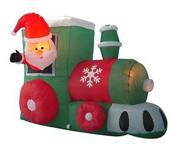 4' Inflatable Santa on Locomotive Train Lighted Christmas Yard Art Decor... - €55,34 EUR