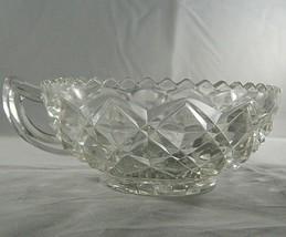 Vintage Imperial Glass Ohio Handled Nappy Block Diamond Design Pressed Dish Bowl - $7.83