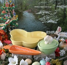 CERAMIC SPRINGTIME SERVEWARE TRIO – BUTTERFLY, CARROT AND LIDDED BUNNY DISH - $54.95