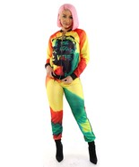 Rasta Clothing Jamaican Clothes For Women Ruffle Jacket and Pants Set - $29.99