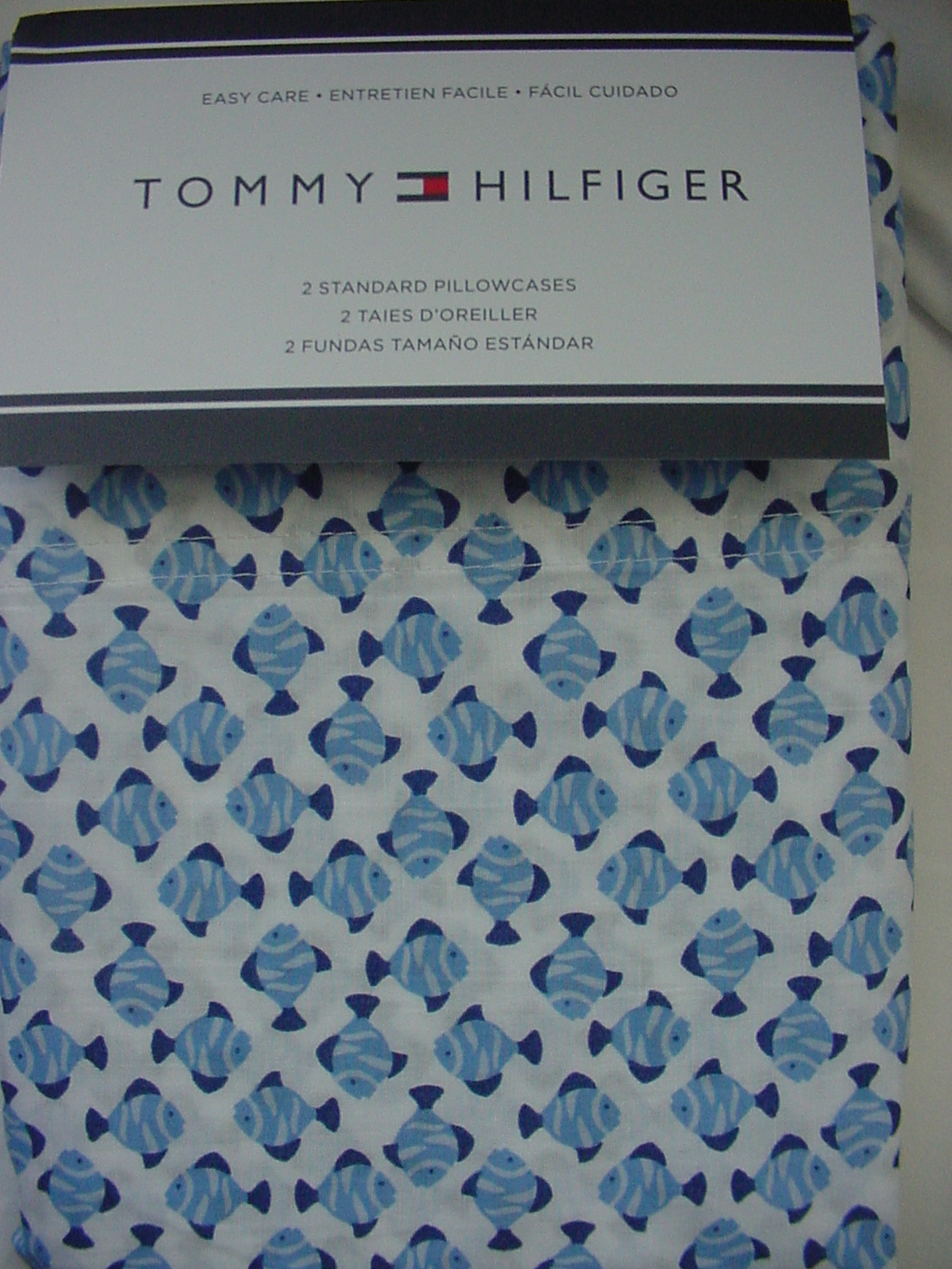 Tommy Hilfiger Blue Fish on White Pillowcases Standard
