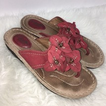 Clarks Artisan Womens Size 7.5 M Sandals Leather Red Flowers - $25.69