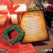New The Legend of the Christmas Wreath Ornaments on Card - $21.24